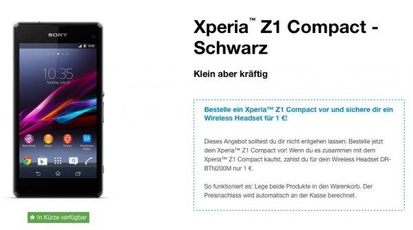 Sony Bluetooth-Kopfhörer (100€) geschenkt bei Kauf Sony Z1 Compact