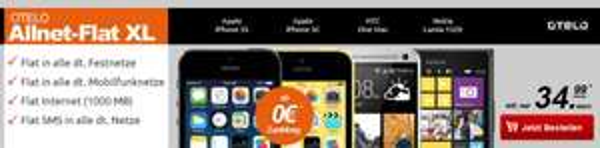 Otelo Allnet Flat XL+ 1 GB Daten im D2-Netz nur 34,99€ mtl.| iPhone 5S 16GB 0 €|Nokia Lumia 1520 29€ uvm.