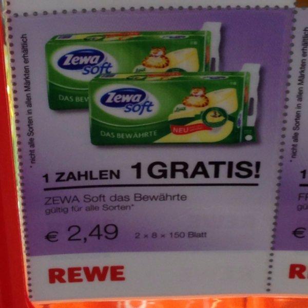 """""""Für'n Ar..."""" Zewa Soft (2für1) Toilettenpapier 2400 Blatt 8x150 (x3) bei ReWe HH"""