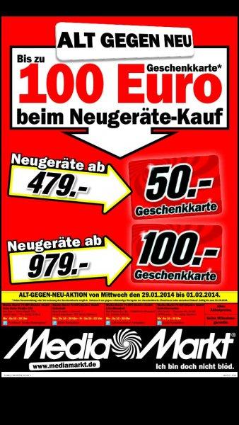 (lokal Köln Media Markt) Media Markt vs. Saturn Ab Mittwoch: 50€ Gutschein ab 479€ Einkauf, 100€ Gutschein ab 979€ Einkauf bis zum 1.2.14