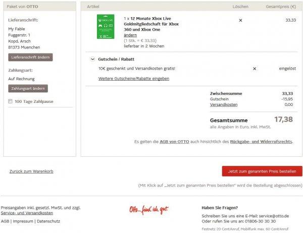 12 Monate Xbox Live Gold 17,38€ für Otto Neukunden