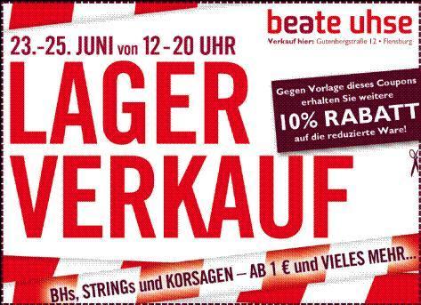 [Flensburg] - BEATE UHSE - Lagerverkauf! 2. Runde! +10% Gutschein zum ausdrucken!