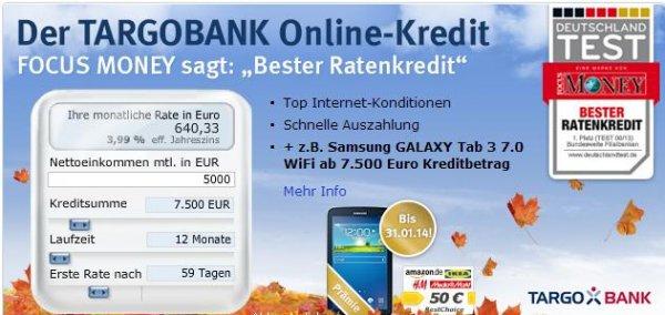 7500 Euro Kredit mit bis zu 150 Euro rechnerischem Gewinn bei der Targobank via web.de