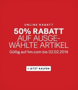 H&M 50% Rabatt auf ausgewählte Artikel + Versandkostenfrei ab 50€