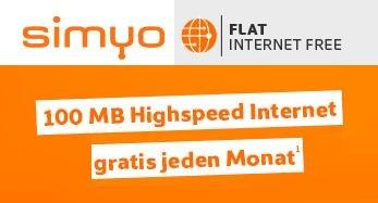 simyo Internet-Flat 100 MB gratis (werbefinanziert, Drosselung auf GPRS / max. 56 kbit/s), verlängert bis 31.3.