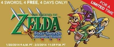 [Nur für US-Konsolen]The Legend of Zelda: Four Swords Anniversary Edition kostenlos für 3DS und 2DS im Nintendo eShop