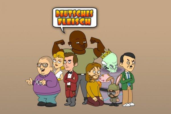 """""""Deutsches Fleisch"""" Zeichentrickserie aus D im Stil von South Park und Family Guy"""