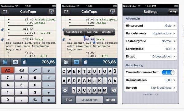 calkTape (Taschenrechner mit Kassenrollenfunktion)  für IOS im mom kostenlos