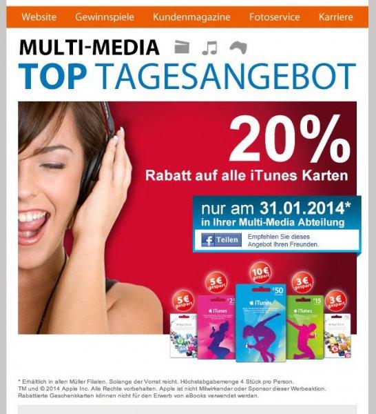 20% auf alle iTunes-Karten am 31.01.14 bei Müller bundesweit