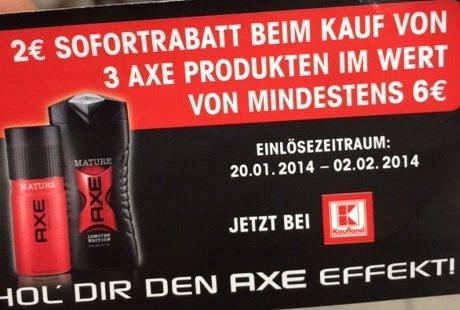 AXE 2 Euro Sofortgutschrift ab 6 Euro Einkaufswert ( Kaufland bundesweit)