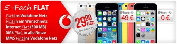 UPDATE: Apple iPhone 5s oder 5c für 29,90 Euro im Monat