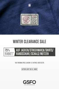 Winter Clerance Sale @ G-star Outlet -- bis zu 75% auf Winterkleidung