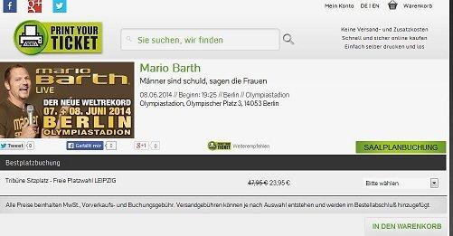 """Mario Barth Ticket """"Männer sind Schuld, sagen die Frauen"""" für 23,95€ (Vgl:47,95€)"""