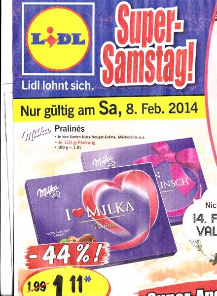 I Love Milka Pralines  1,11€ nur am 08.02.14 bei Lidl