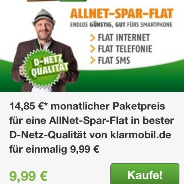 Klarmobil Allnet Flat + SMS und Rufnummernmitnahme 14,85/Monat@ Groupon