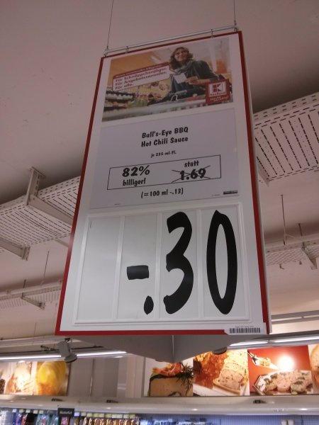 [Lokal Kaufland Berlin {Neukölln Arcaden}]  Bulls Eye BBQ Hot Chili Sauce für 30 cent!!!