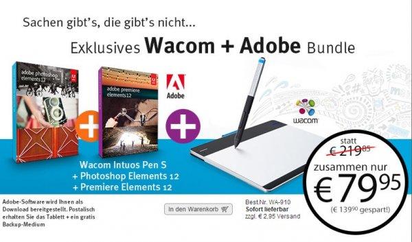Wacom Intuos Pen S inkl. Photoshop Elements 12 & Premiere Elements 12 für 79,95€ + Versand