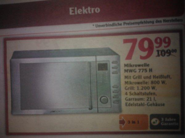 Mikrowelle mit Grill und Heißluft 3 J. Garantie Globus Wachau für 79,99€