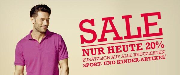 20% auf alle reduzierten Sport- und Kinder-Artikel im Breuninger Online Shop