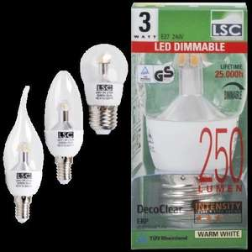 Lokal bei action:Klare  dimmbare LED LAMPE  Kerze oder Kerze Windstoß E14, Kugel E27, warm weiß , 250 Lumen, 3 Watt