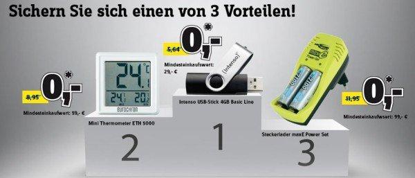 [Conrad] - USB-Stick (ab 29€), Mini Thermometer (ab 59 €) oder Steckerlader (ab 99€) gratis mitbestellen (je nach Bestellwert)