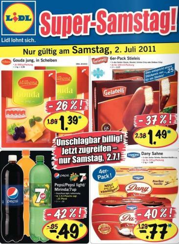Lidl Super Samstag am 02. Juli ! - Dany Sahne 4er-Pack für 77 Cent ! und Pepsi, Mirinda, 7UP je 1,5 L für 49 Cent