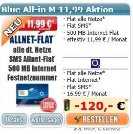 Allnet-Flat + SMS-Flat + 500 MB mit 21,6 MBit/s für rechnerisch 11,99€ im Monat (MD im Netz von o2)