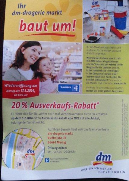 (Lokal Merzig) 20 % auf alles im DM - z. B. Pampers New Baby € 3,19 statt Idealo € 3,98
