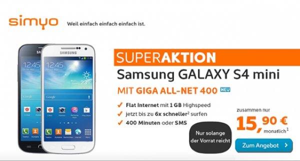 Samsung Galaxy S4 Mini mit Simyo Giga All-Net 400-Tarif
