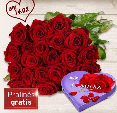 Blume 2000 gratis I love Milka Pralines be Kauf von 20 Rosen