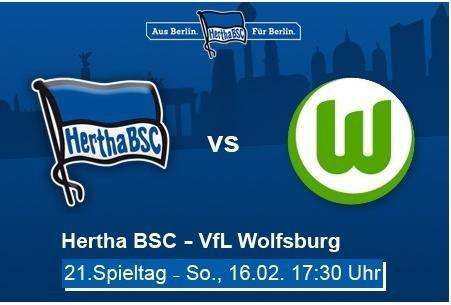 Groupon: 16.02. Hertha BSC live gegen den VFL Wolfsburg 2 Karten ab 27,-