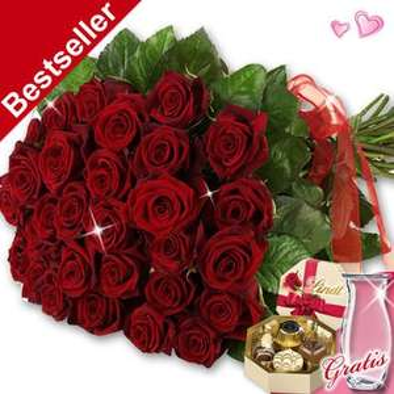 [FloraPrima] - Valentinssträuße mit Vase & Lindt Pralinés ab 19,95 € zzgl. 4,99 € Versand + (18% Qipu)