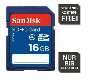 SanDisk SDHC 16GB Class 4 Speicherkarte für 7€ @Saturn