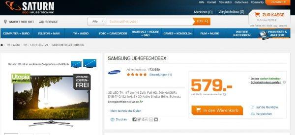 Samsung UE46F6340 für effektive 569,74 - bester Konkurrenzpreis 649,-