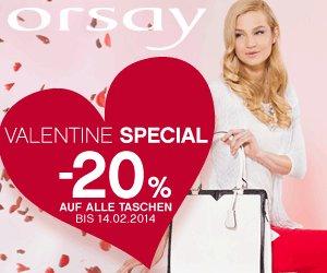 Valentine Special (bis 14.02): -20% auf alle Handtaschen @ Orsay Shop