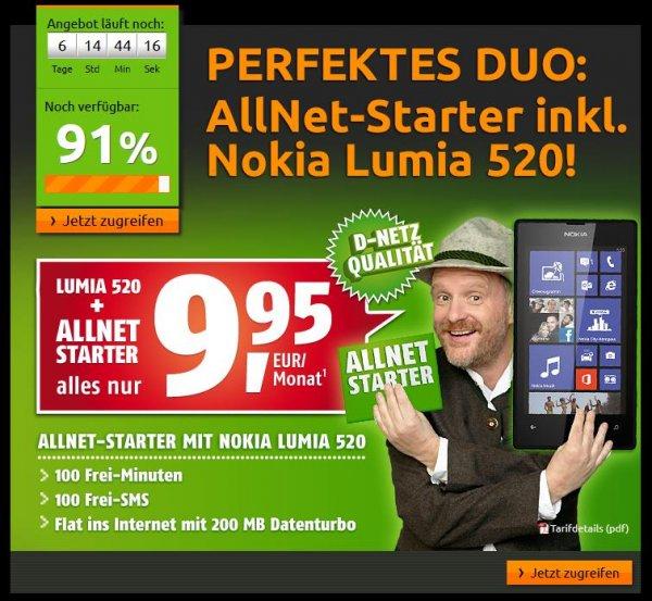 Crash-Tarife: AllNet-Starter Paket (D-Netz) mit Nokia Lumia 520 für 9,95 € im Monat
