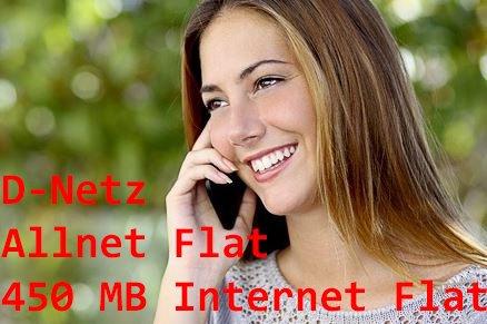 Allnet Flat + 450 MB Internet Flat - D Netz- 9,95 Monat - 24 Monate Vertrag