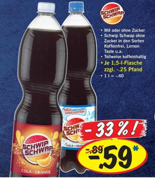 Schwip Schwap 1,5l für 0,59€ bei Lidl - versch. Sorten - 10.02. bis 15.02.2014