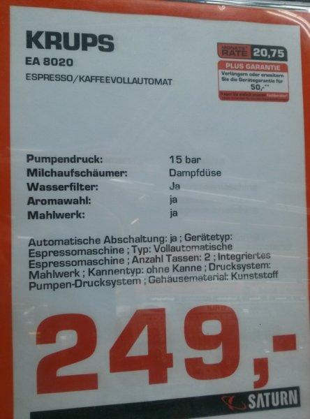 Lokal Leipzig Saturn am Hbf - Kaffeevollautomat KRUPS EA8020 für 249,00
