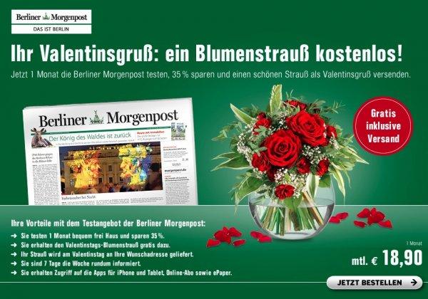 [Valentinstag] Blumenstrauß + 1 Monat Berliner Morgenpost für 18,90 Euro