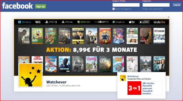 watchever.de-Facebook Aktion // 8,99 EUR für 3 Monate Film-Serien-Flatrate