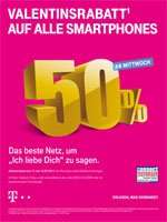 Telekom Valentinsrabatt 50% auf alle Smartphones