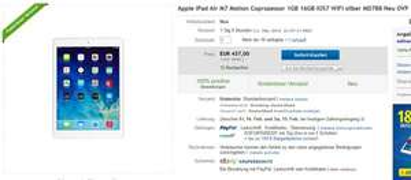 Apple iPad Air 16GB WIFI für 437€ inkl. Versand (Händler)