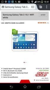 Samsung Galaxy Tab 3 10.1 WiFi White Inc. 32 GB MicroSDHC