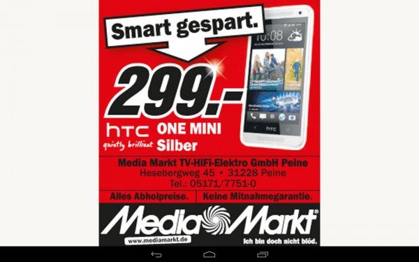 HTC one mini Silber 299,- € - lokal MediaMarkt Peine