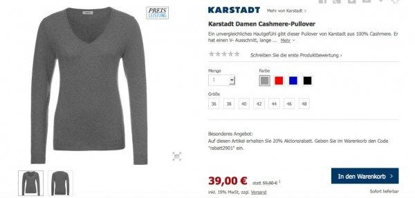 Cashmere Pullover bei Karstadt für 31,20€ für Damen und Herren