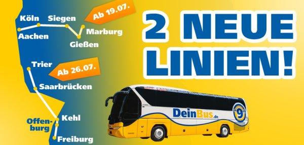 Ab 6 € z.B. von Frankfurt nach München mit einem 30 EUR DeinBus.de Gutschein von Aladoo.de