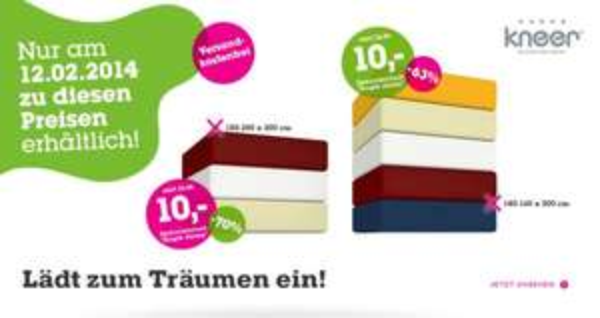 Kneer Spannbettlaken um 10€ bei mömax (inkl. Versand) - NUR HEUTE