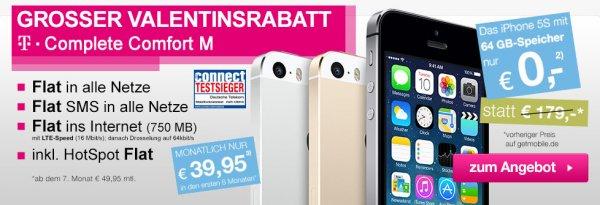 Telekom Super Deal Iphone 5s 64GB für 0€ im Telekom Complete M Vertrag