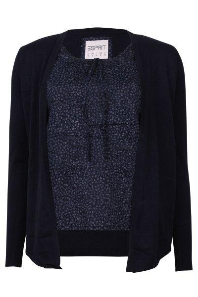 Udate auf 8,95€: Esprit Damen Cardigan Pullover mit Stoffeinsatz H21529 Navy für 9,95€ +3,50€ Versand statt 59,95€